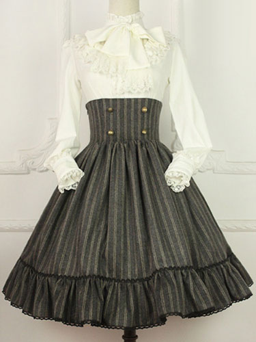 Vintage Cotton Blend Lolita Skirt High Waist Lace UP