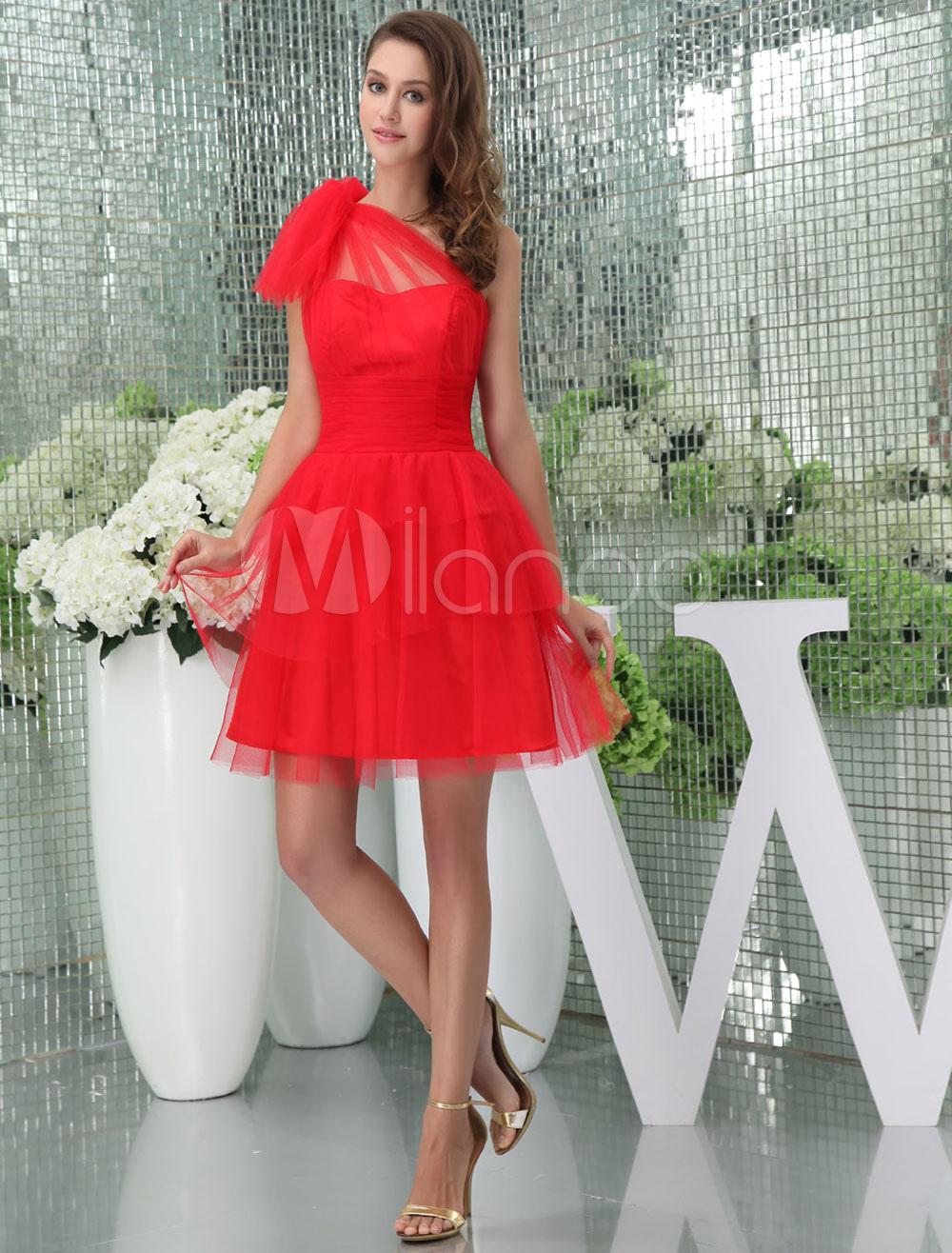 estilo máximo Venta de descuento 2019 más cerca de Rojo vestido un hombro pliegues de tul vestido de cóctel corto de baile  vestido Milanoo