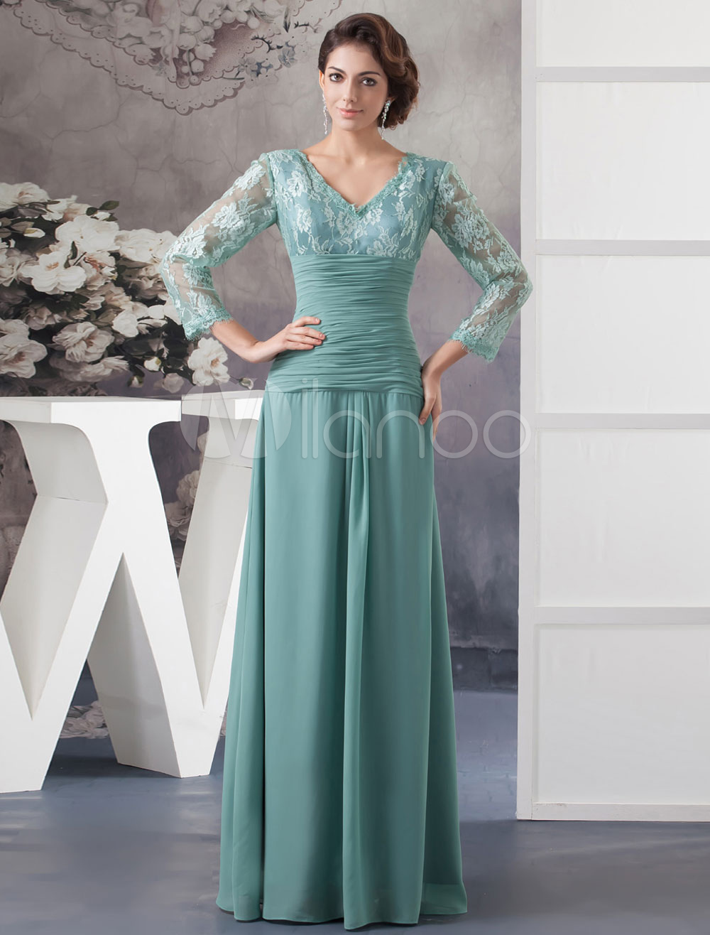 Buy Lace Mother Of The Bride Dress A-Line Floor-Length Chiffon Pleated V-Neck Long Sleeves Evening Dress Milanoo for $139.99 in Milanoo store
