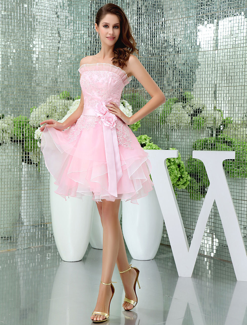 Buy Strapless Homecoming Dress Ruffles Neckline Lace Beading Organza Cocktail Dress Short Prom Dress Milanoo for $128.69 in Milanoo store