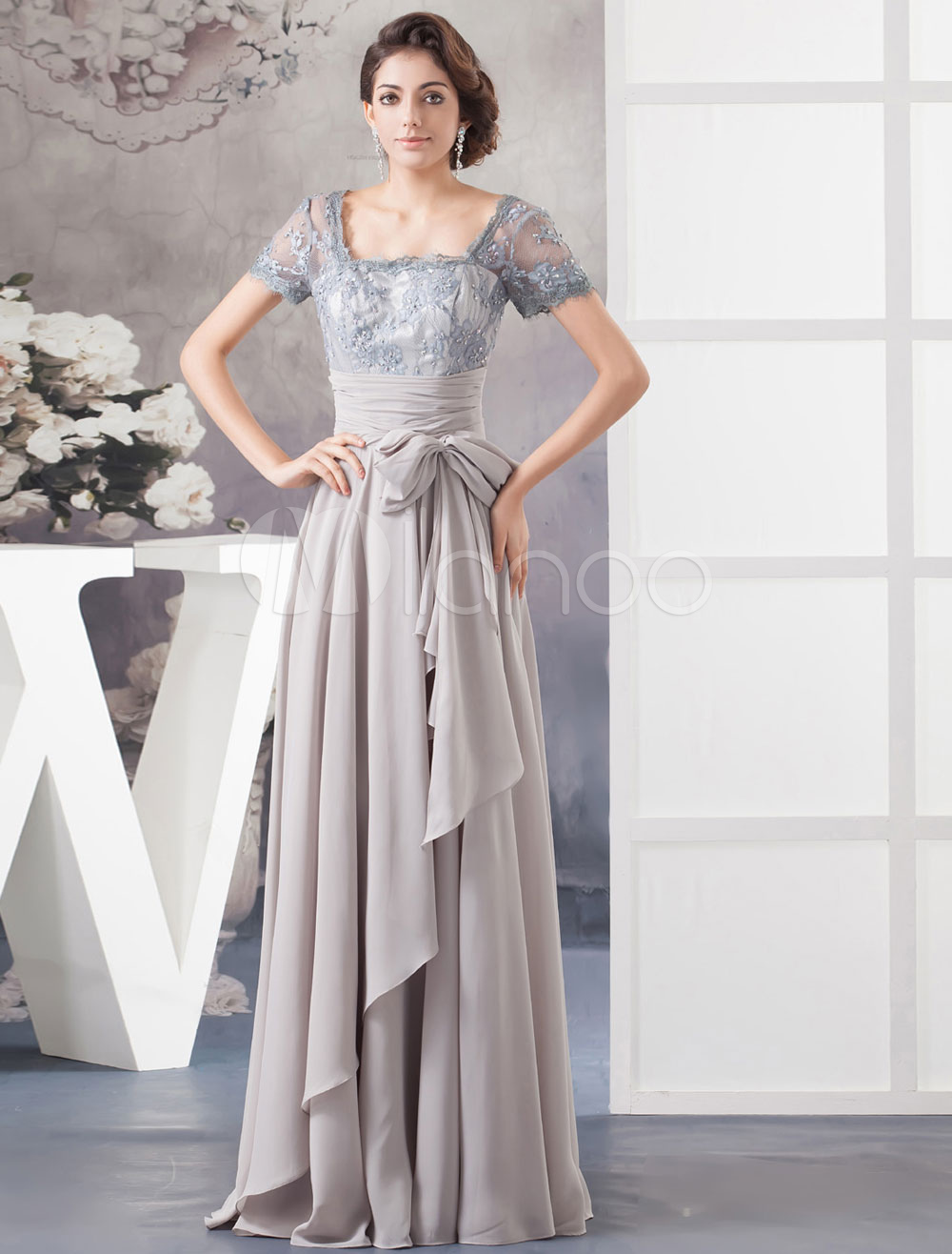 Lace Beading Mother Of The Bride Dress Pleated Chiffon A-Line Floor-Length Illusion Neck Evening Dress Milanoo