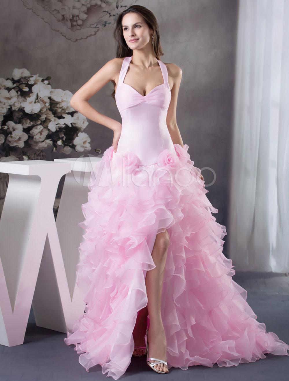 Vestido fiesta flores volantes Organza Vestido de novia tul alto ...
