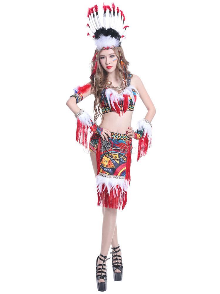 32f0b47344 ... Costume di Carnevale Brasile rosso vestito indiano danza Jazz-No.5 ...