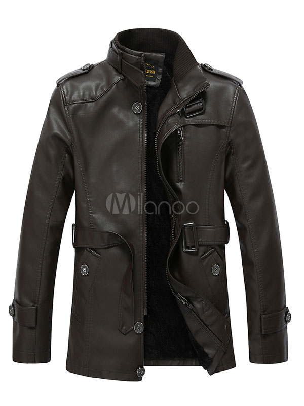 Buy Leather Belted Jacket Stand Collar Trench Coat For Men for $45.59 in Milanoo store