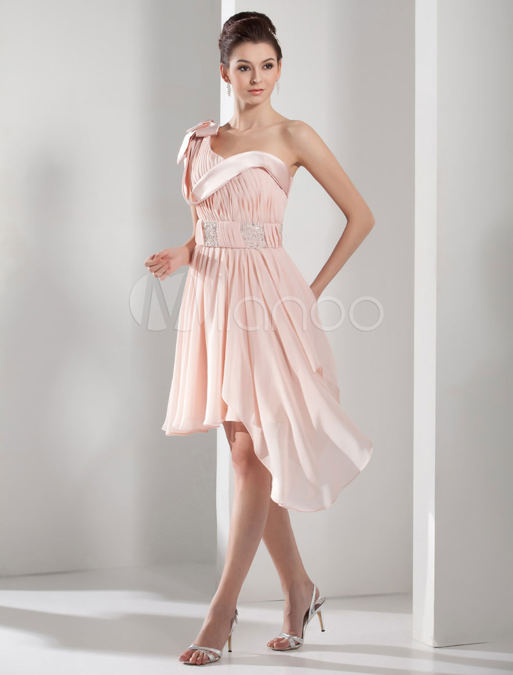 d26a26e8a72c ... One-Shoulder Homecoming Dress Pleated Beading A-Line Asymmetric Chiffon  Cocktail Dress Mini Prom. 12. 30%OFF. Color Peach