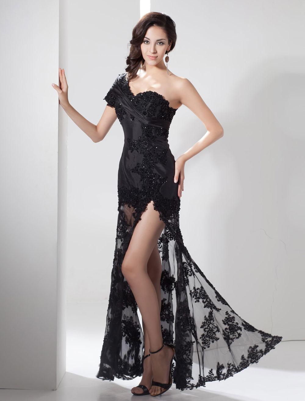 Slit Evening Dress Illusion Train Lace Applique Beading One Shoulder Side Split Maxi Party Dress Milanoo