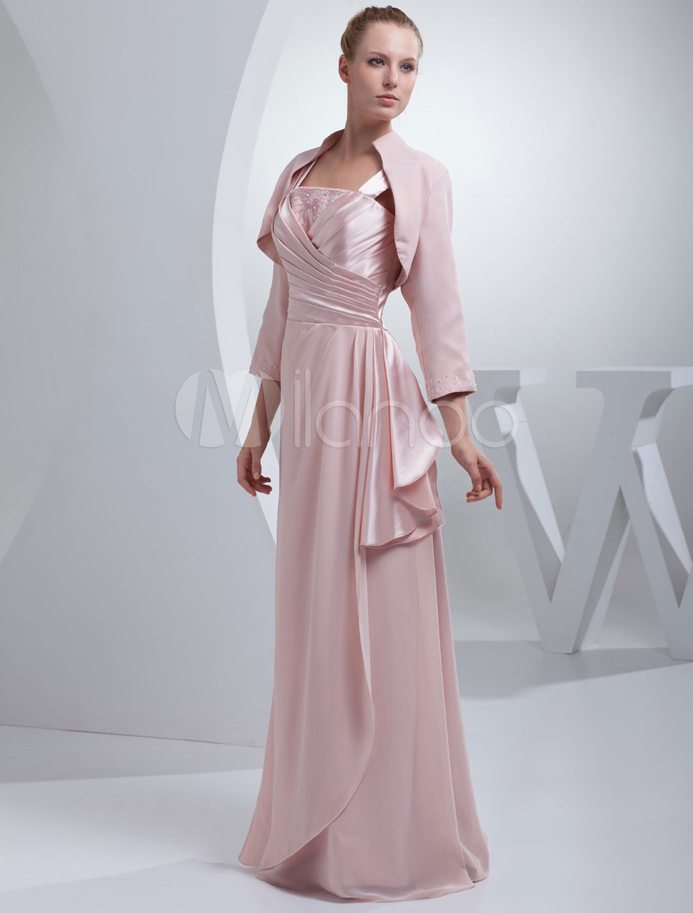 Chiffon Mother of the Bride Dress Suits( including Wrap)A-line Floor-Length Strapless Wedding Party Dress Milanoo