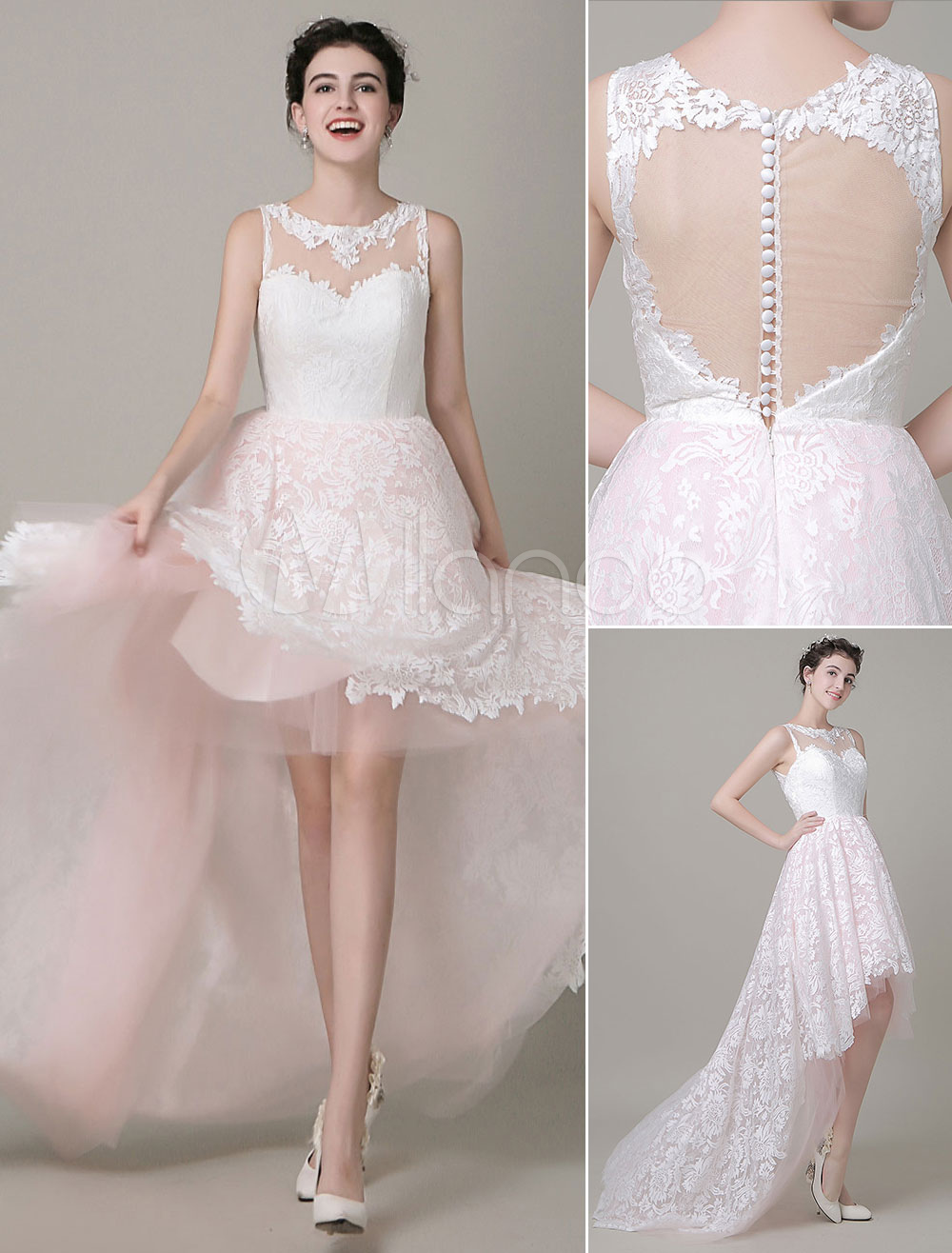 High Low Wedding Dress Lace Illusion Neckline Bridal Running Dress