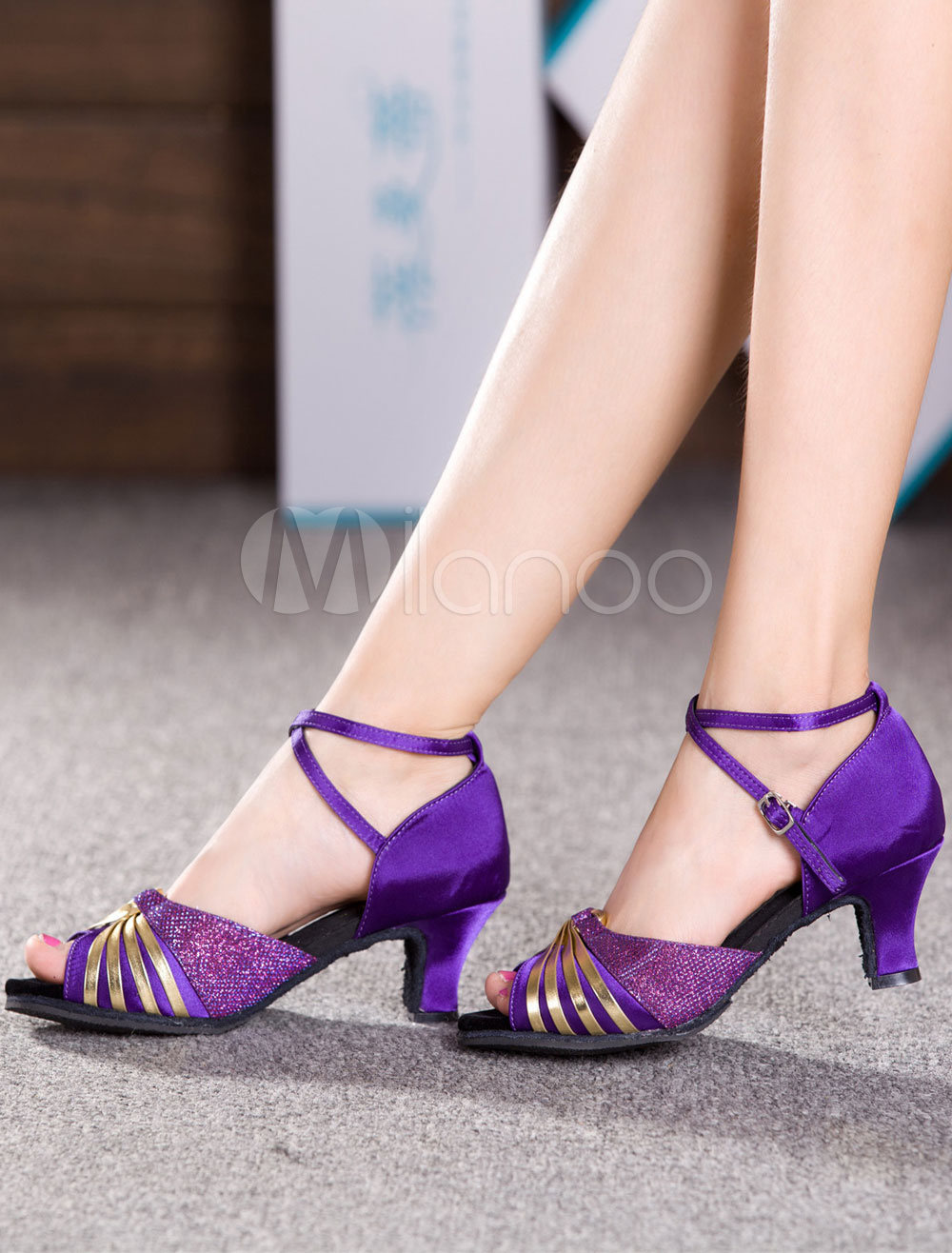 Dance Shoes Color Block Peep Toe Twisted Latin Shoes