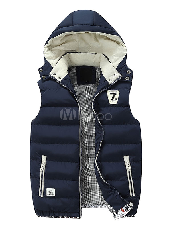 Men Vest Coat Deep Blue Winter Coat Hoodie Sleeveless Quilted Coat