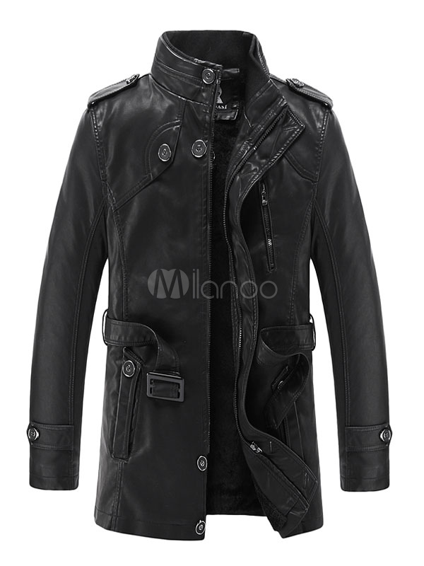 Buy Men's Leather Jacket Stand Collar Belted Trench Coat for $51.29 in Milanoo store