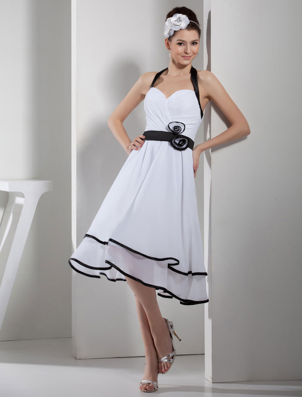 43accce6d5 ... Halter Homecoming Dress Pleated Flower Applique Chiffon A-Line Backless  Cocktail Dress Short Prom Dress. 12. 30%OFF. Color White