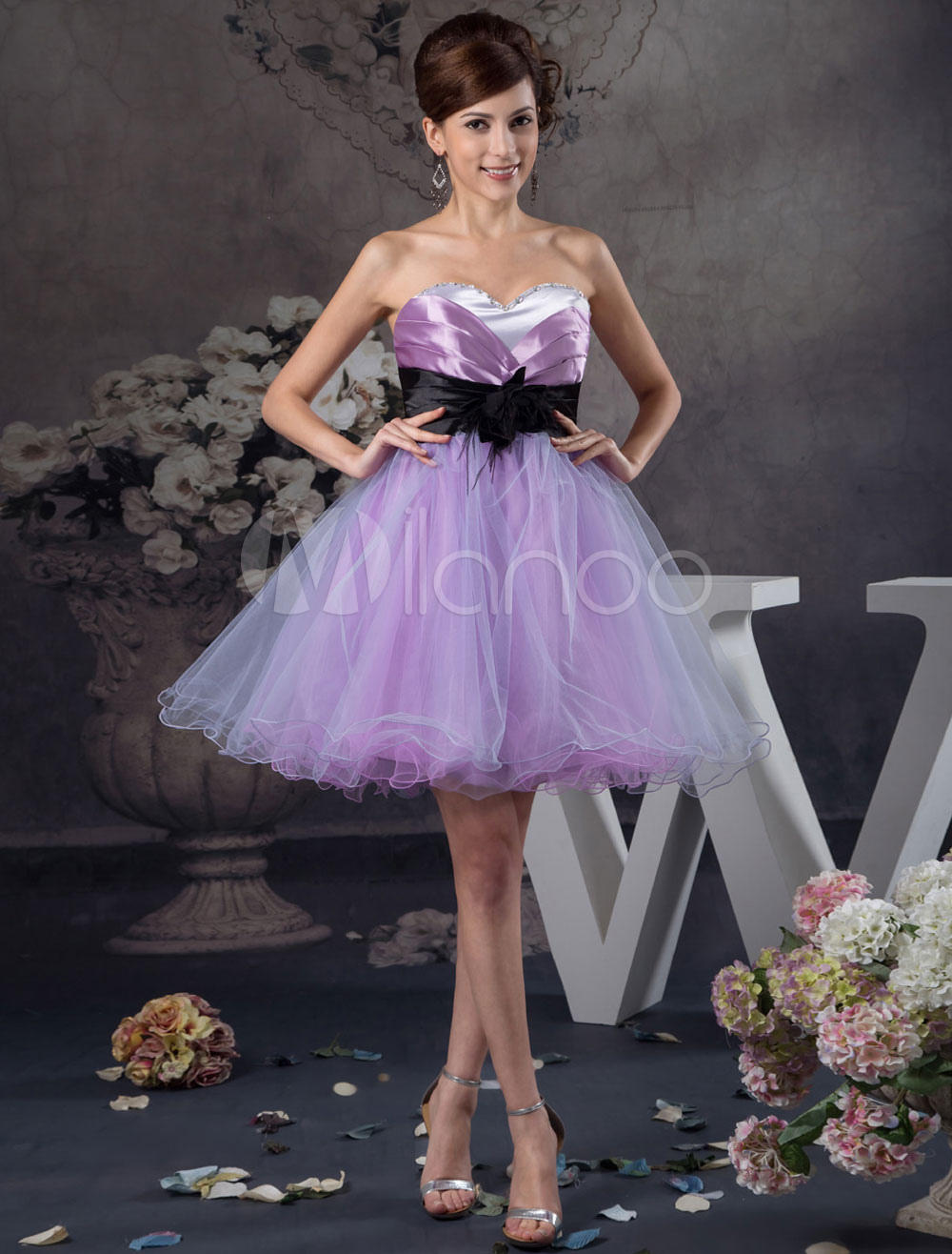 Buy Tulle Homecoming Dress Strapless Sweetheart Satin Pleated Beading A-Line Short Prom Dress Backless Cocktail Dress Milanoo for $109.99 in Milanoo store