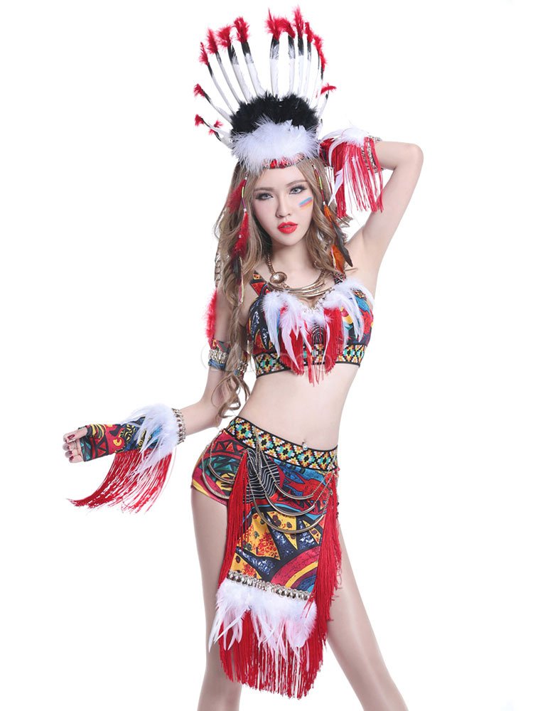 Indian Jazz Dance Dress Red Brazil Carnival Costume