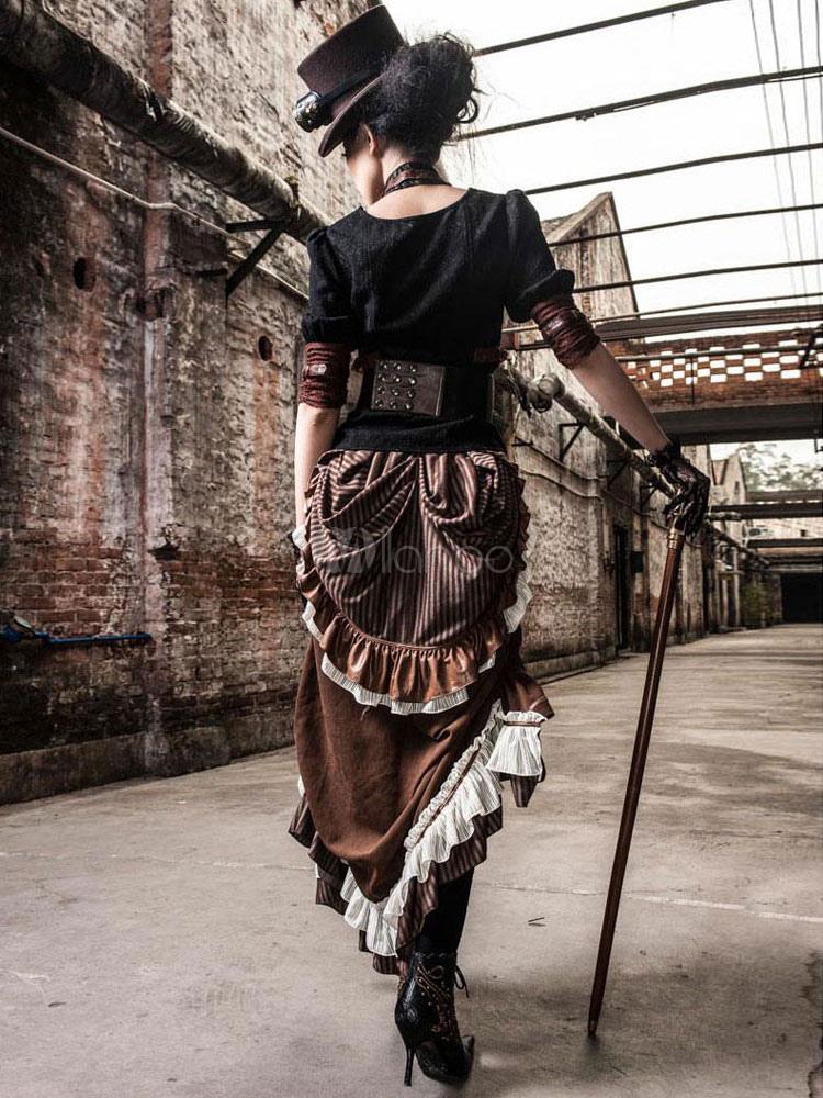 Larga De Steampunk Bulle Falda Volantes Estilo Victoriano Vestido vwdFx