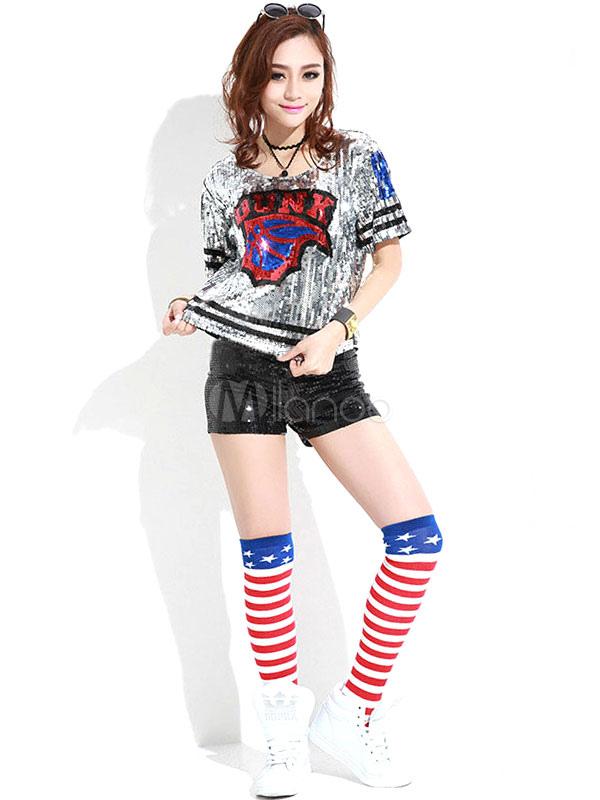 Chambre Fille Hip Hop : ダンス衣装 ショーガール 大人用 シークイン 女性用 ジャズ milanoo
