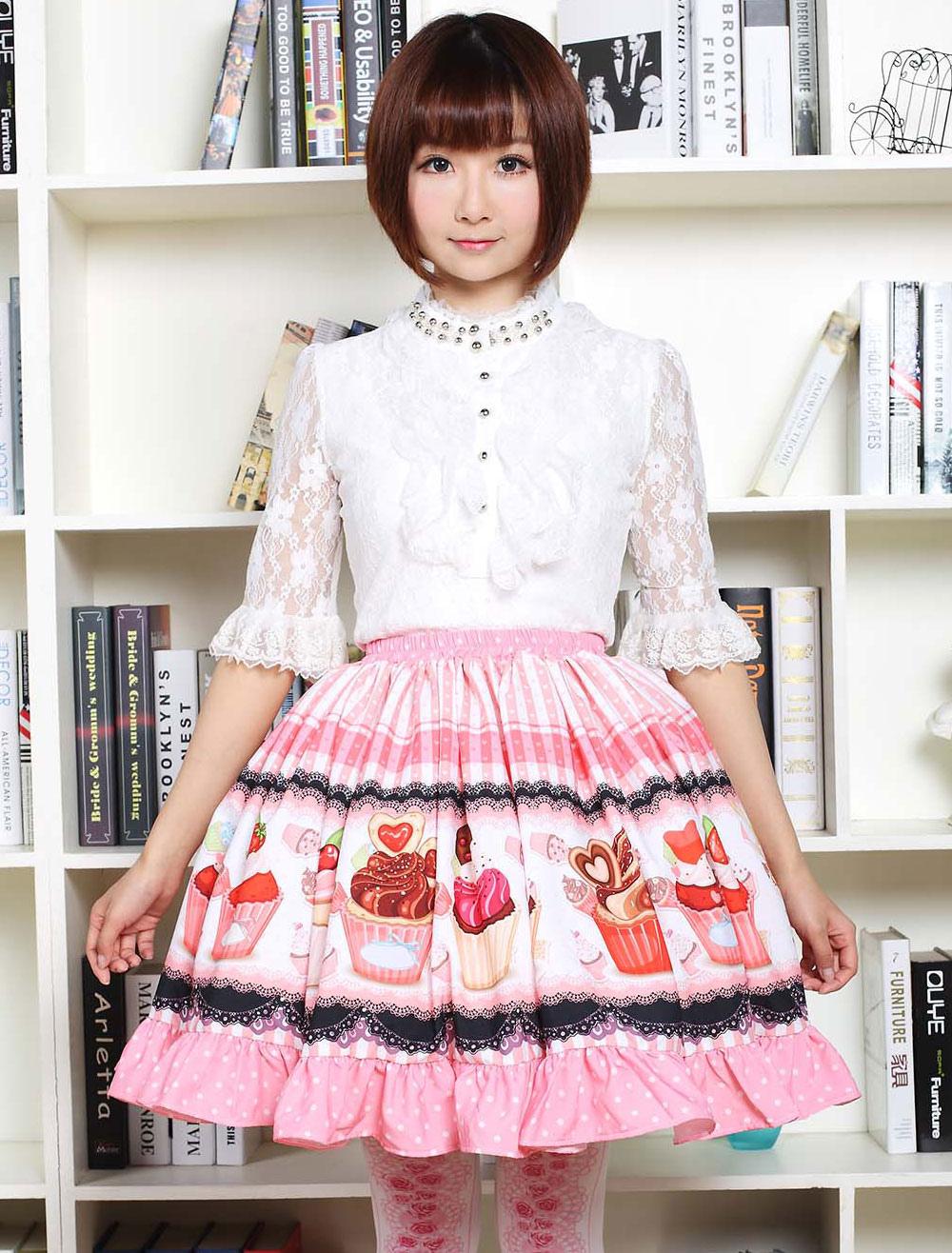 Pink Lolita Dress Sweet Cupcake Printed Lolita Skirt Ruffles Trim