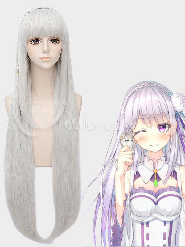 Re Zero Starting Life in Another World Emilia Halloween  Cosplay Wig  Halloween