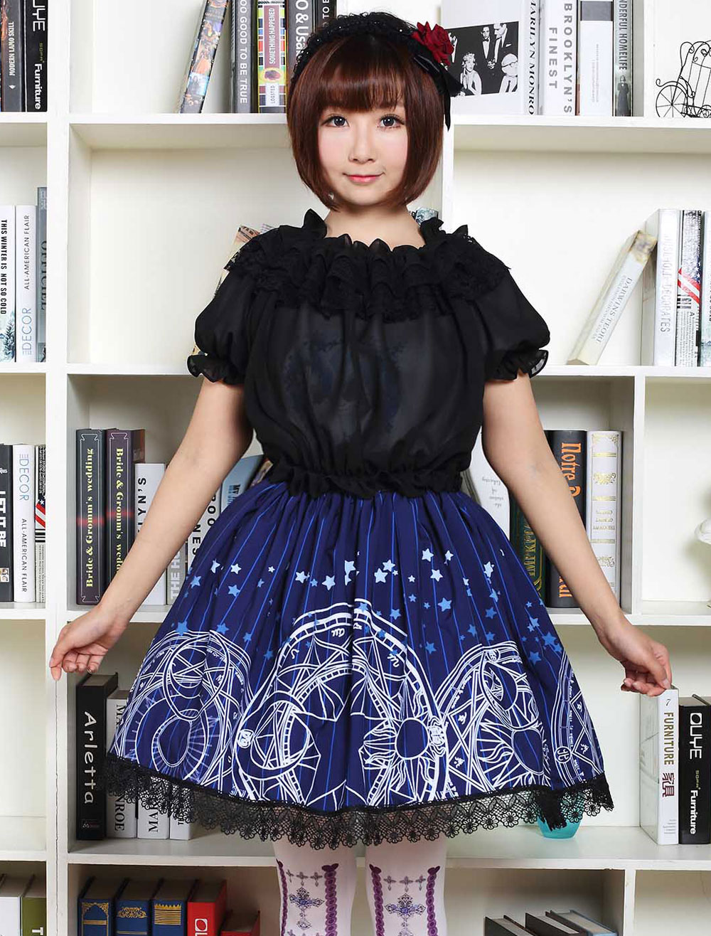 Buy Blue Lolita Dress Cute Lolita Lace Skirt With Magic Circle Print for $33.11 in Milanoo store