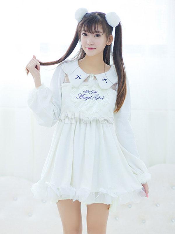 Buy Sweet Lolita Dress Embroidered False Two-Piece Lolita Velvet Dress for $57.59 in Milanoo store