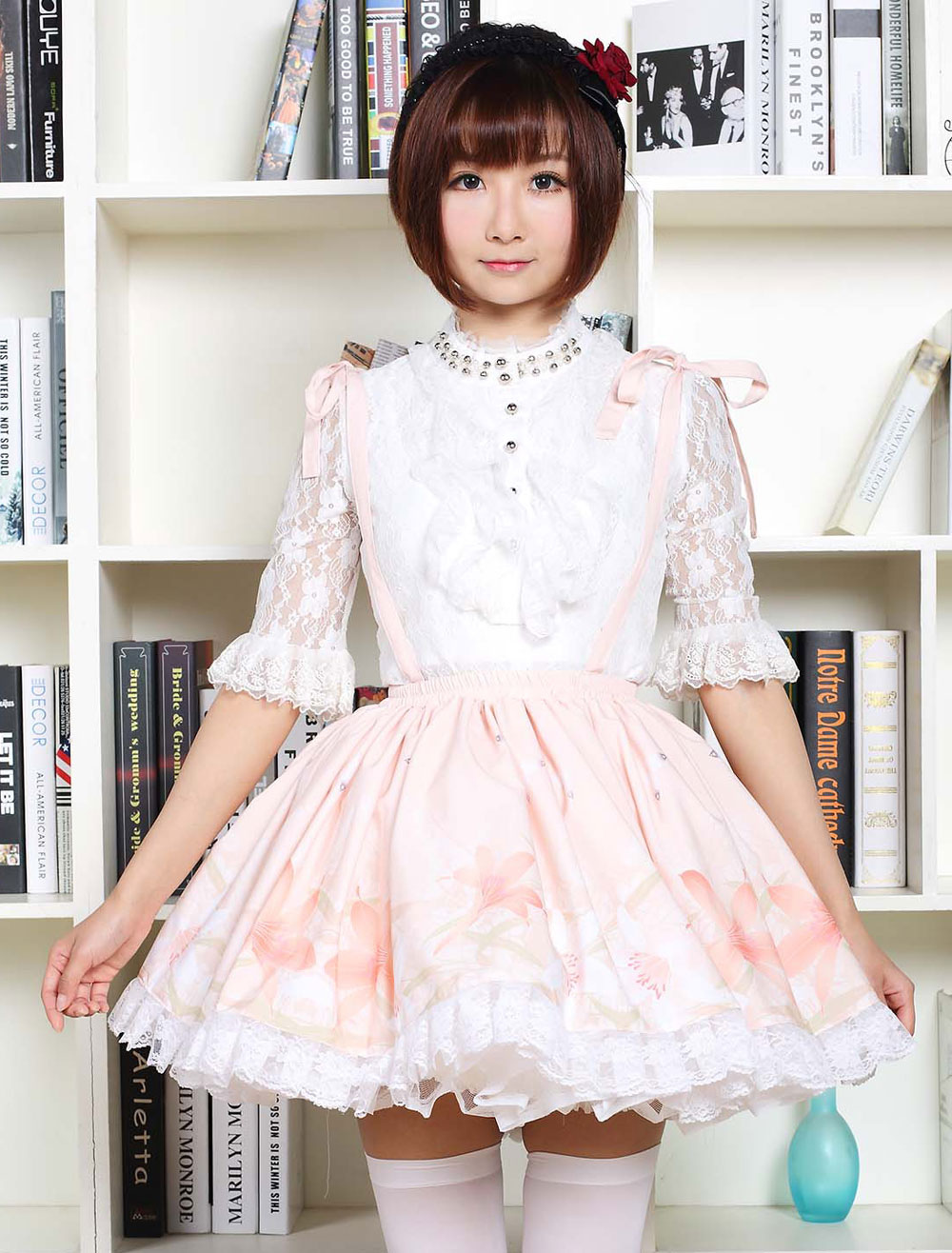 Buy Cute Lolita Dress Sweet Pink Flower Printed Qi Lolita Lace Trim Skirt With Suspender for $35.99 in Milanoo store