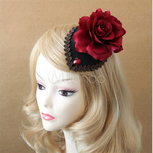 Buy Gothic Lolita Headdress Black Cut Out Lolita Hair Clip Decorated With Burgundy Rose And Rhinestones for $16.55 in Milanoo store