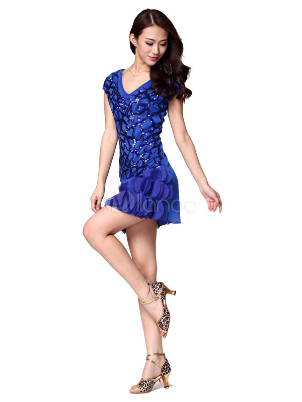 90111d2a06803 Sequin Dance Dress Women's Cap Sleeeves V Neck Fish Scales Edge Dance  Costume Dress ...