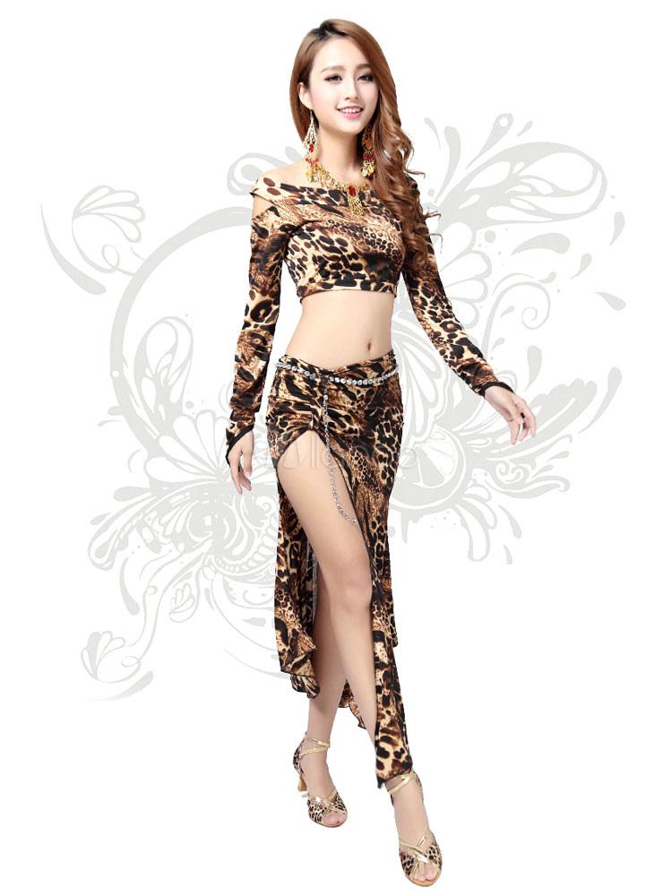 aa8e1b13051e Belly Dance Costume Women s Long Sleeve Leopard Print Off the ...
