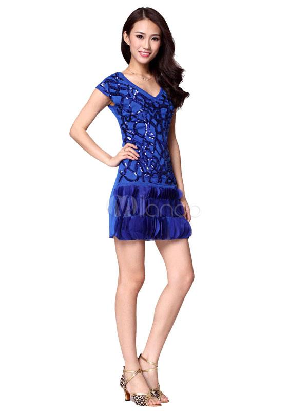 2af698b8d69a2 ... Sequin Dance Dress Women's Cap Sleeeves V Neck Fish Scales Edge Dance  Costume Dress ...