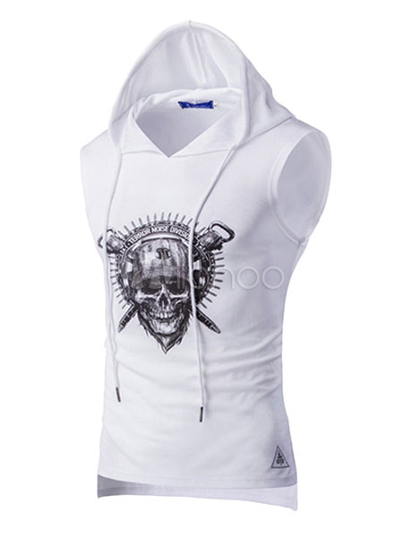 Men Sleeveless Hoodie Skull Print Hooded Men Tank Top
