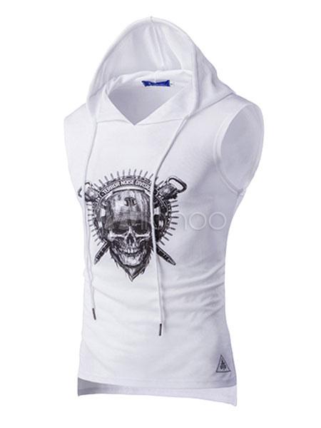 11fc8c101aaa2 Camiseta blanca sin mangas con capucha con capucha tanque con estampado de  calavera para hombres ...