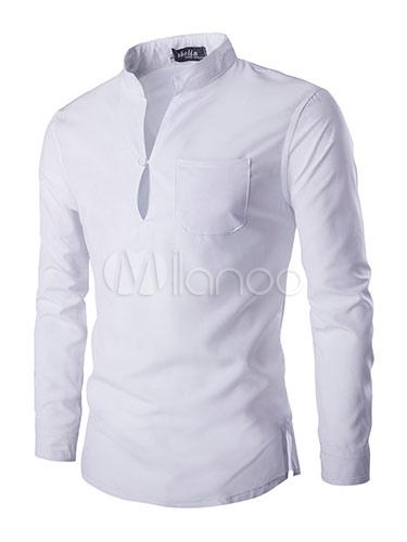 9bd5c8719b Camisa blanca manga larga para hombre con cuello Mao - Milanoo.com