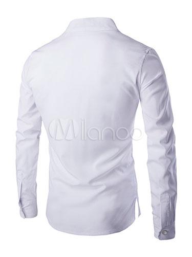 1625d5e03bcf3 قميص أبيض بأكمام طويلة للرجال مع ياقة اليوسفي 2019 - Milanoo.com