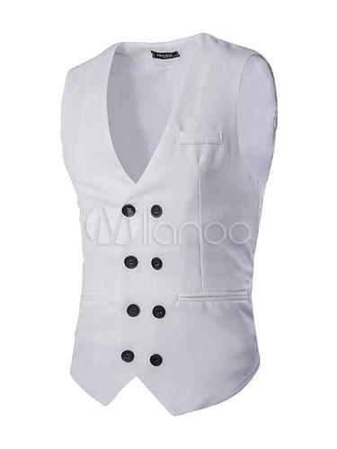 Buy Slim Fit Vest In Black/White Skinny Double Breasted Blazer for $23.74 in Milanoo store