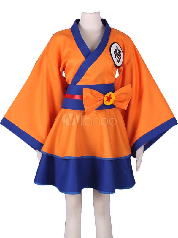 Dragonball Z Son Goku Kakarotto Female Lolita Kimono Dress Anime Cosplay Costume Halloween