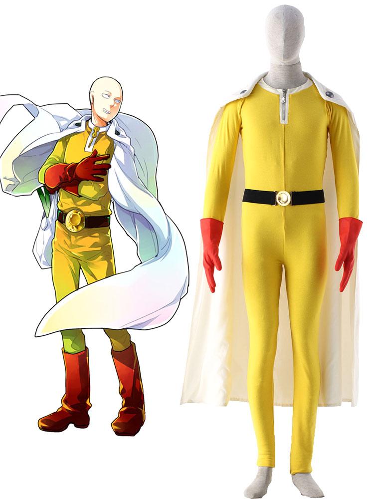 One Punch Man Caped Baldy Saitama Fighting Uniform Anime Cosplay Costume Halloween