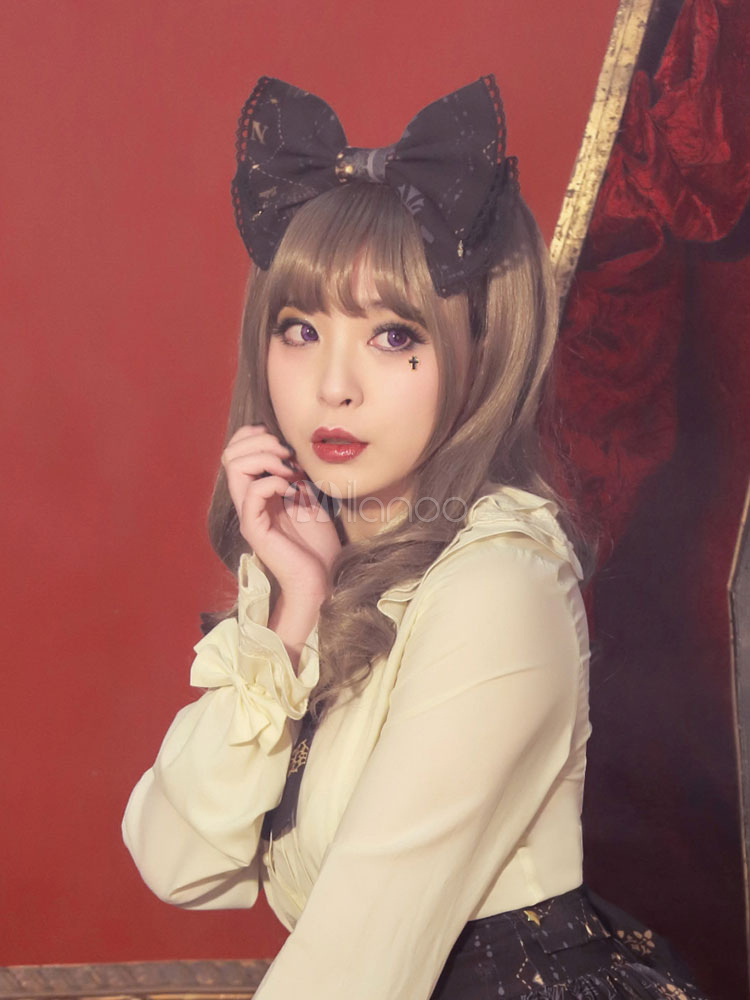 Buy Gothic Lolita Headband Star Printed Lolita Bow Head Band With Lace Trim Lolita Kc for $22.99 in Milanoo store