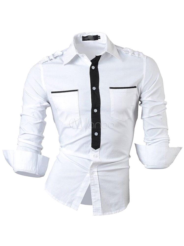 new york efd7d 761b5 Camicie bianche maniche lunghe grigio/viola sottile contrasto paramontura  uomo
