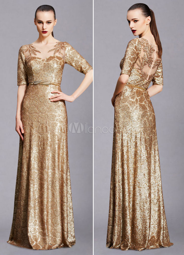 Buy Maxi Evening Dress Unique Gold Lace Illusion Half-sleeve A-line Sequin Floor-length Wedding Guest Dresses (Including Sash) for $273.59 in Milanoo store