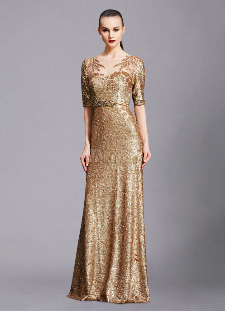 Maxi Evening Dress Unique Gold Lace Illusion Half Sleeve A Line Sequin Floor Length Wedding Guest Dresses Including Sash Wedding Guest Dress