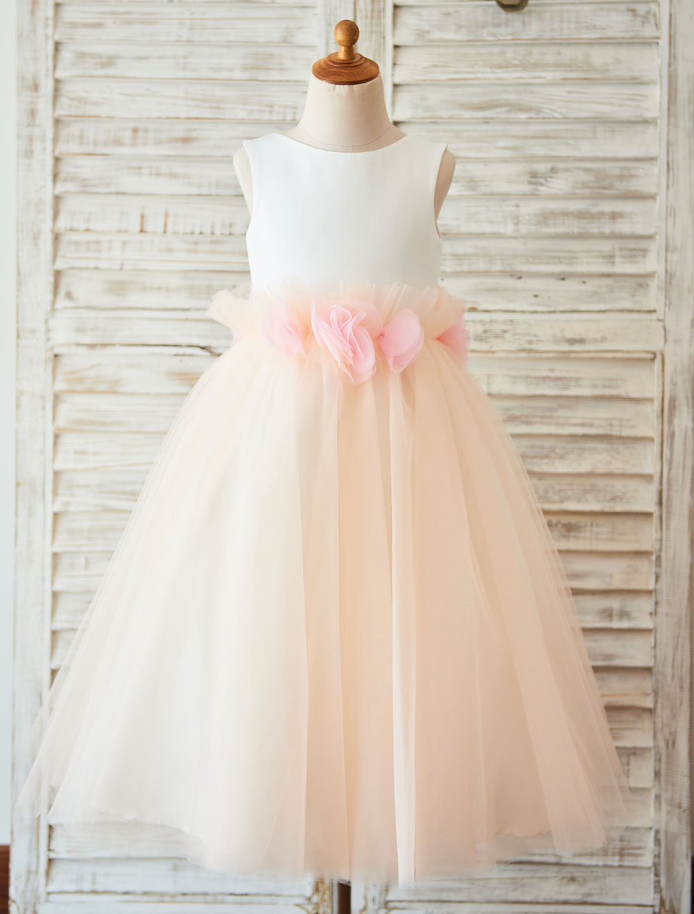 Buy Flower Girl Dress V Back Tulle A Line Toddles Pageant Dress Ribbon Bow Ankle Length Tutu Kids Party Dress for $72.89 in Milanoo store