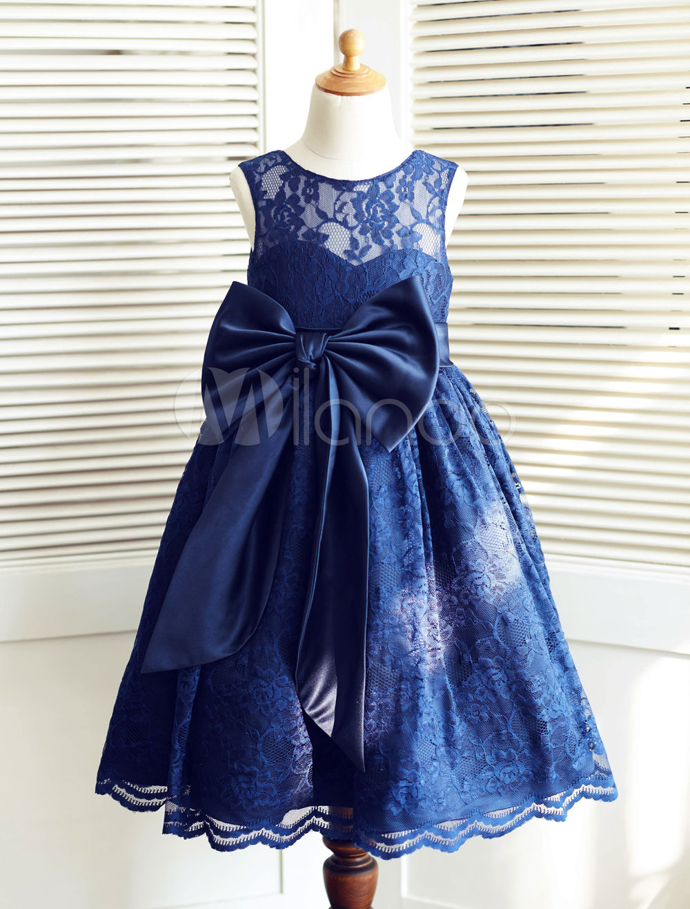 Lace Flower Girl Dress Ribbon Big Bow Illusion Neckline Ankle-Length Toddler's Pageant Dress