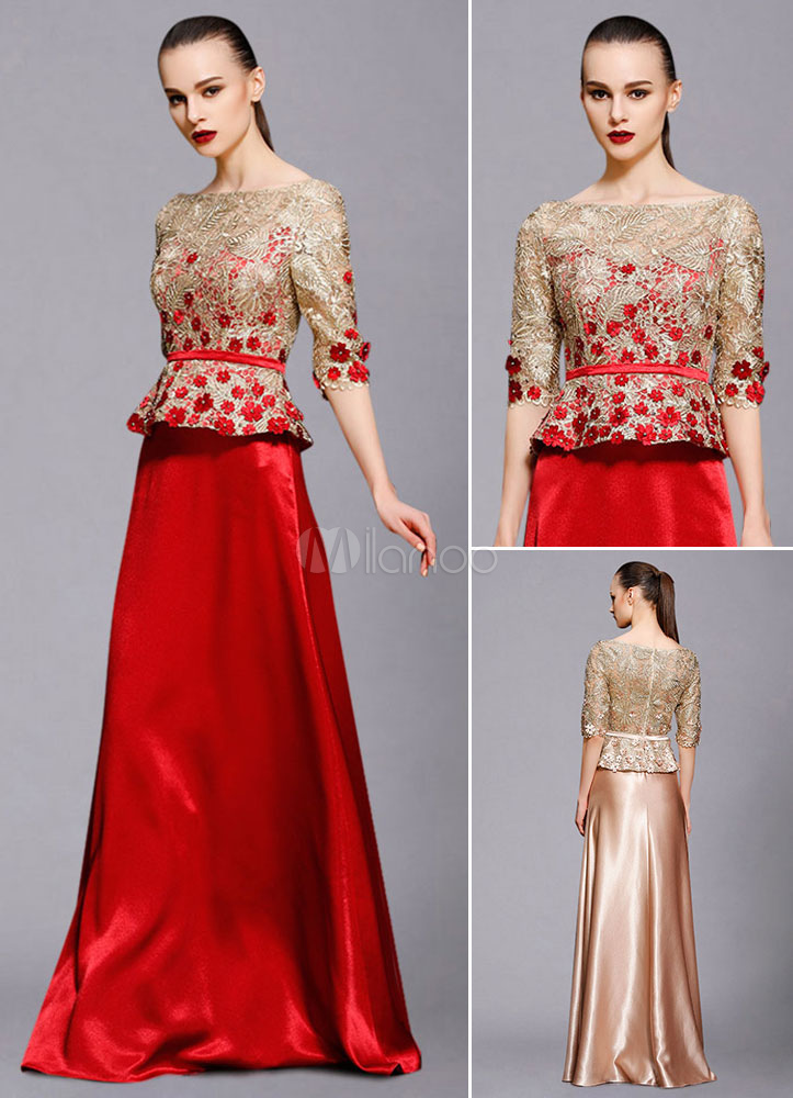 Buy Maxi Evening Dress Illusion Half-Sleeve A-Line Lace Applique Beading Floor-Length Wedding Guest Dresses for $201.59 in Milanoo store