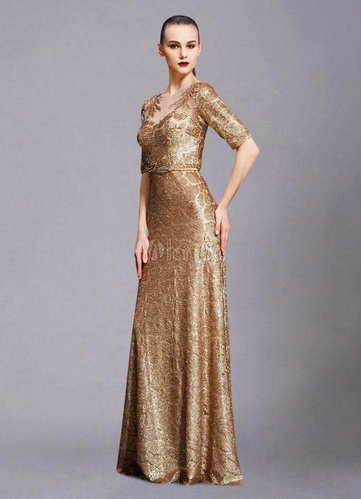 f7bc39cb9c66e ... Maxi Evening Dress Unique Gold Lace Illusion Half-sleeve A-line Sequin  Floor- ...