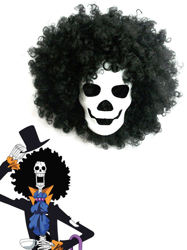 One Piece Dead Bones Brook Mask And Black Wig Anime Cosplay Accessories Halloween