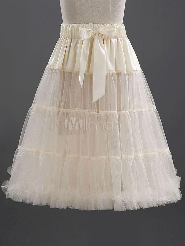 Buy Keen-length Petticoat Boneless Two-Tier Tulle Short Skirt for $23.99 in Milanoo store