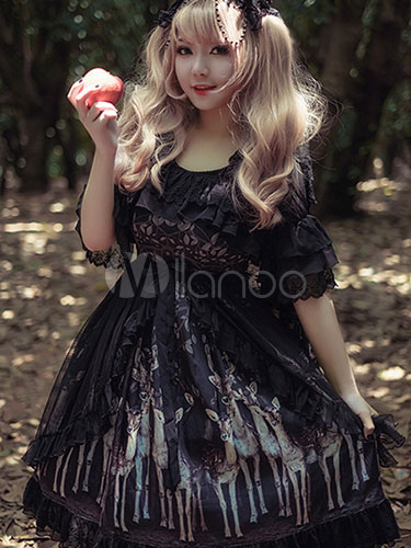 Buy Gothic Lolita Dress Lace Printed Lolita Dress Lace Trim Milanoo Lolita Jumper Skirt for $100.99 in Milanoo store