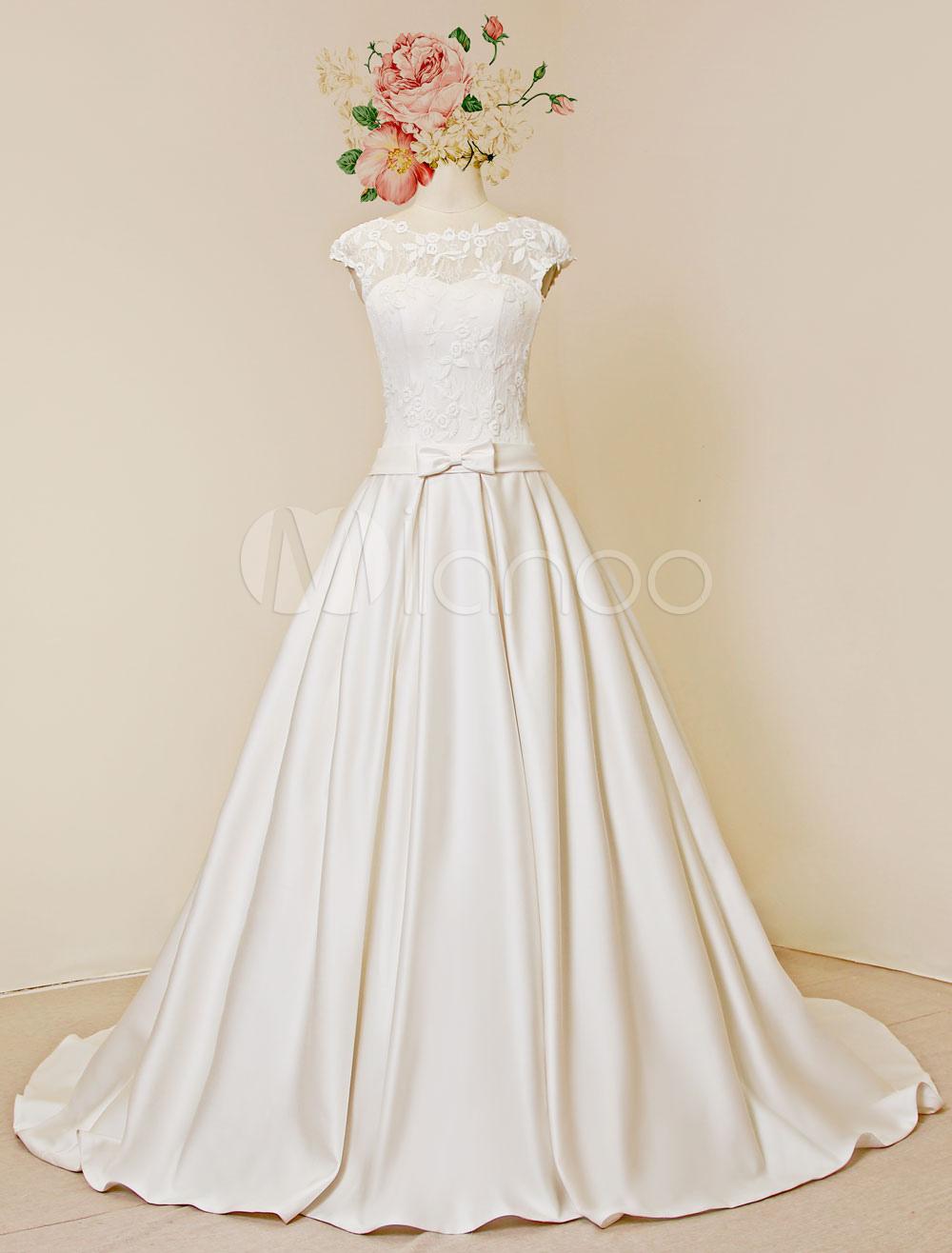 Spitze Hochzeitskleid Luxus offene hintere Kappe Ärmeln Kapelle Zug ...