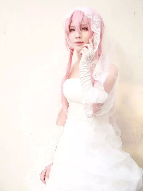 The Future Diary Gasai Yuno Halloween Cosplay Costume Wedding Dress Version Halloween