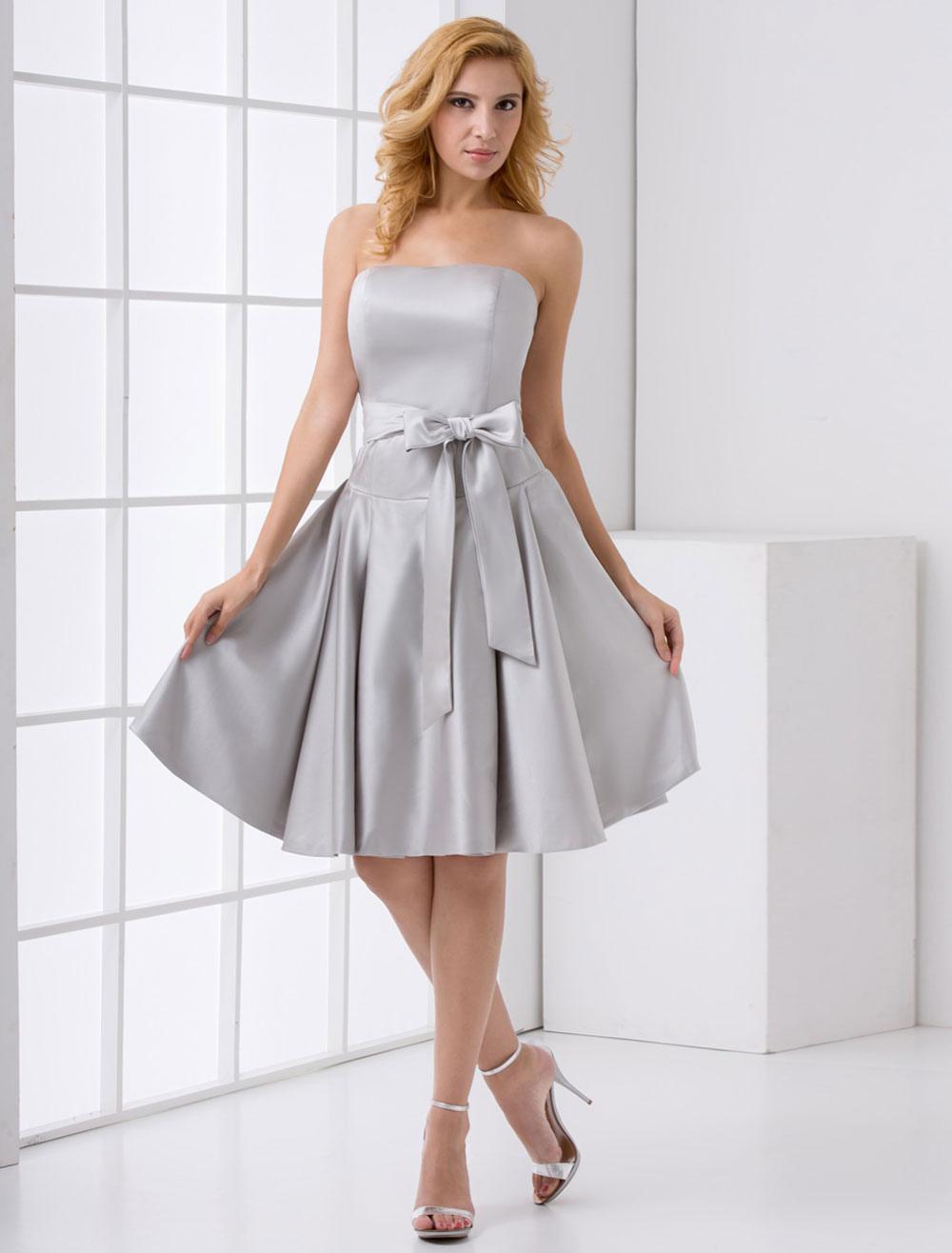 Silver Bridesmaid Dress Short Grey Satin Cocktail Dress With Bow Sash